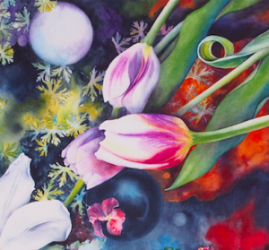 detail: Garden Path.Tulips, watercolor, Laura Bethmann