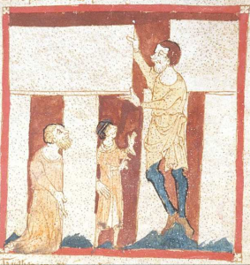 A giant helps Merlin build Stonehenge. From a 14th century manuscript in the British Library. Roman de Brut verse of literary history, by Norman poet Wace